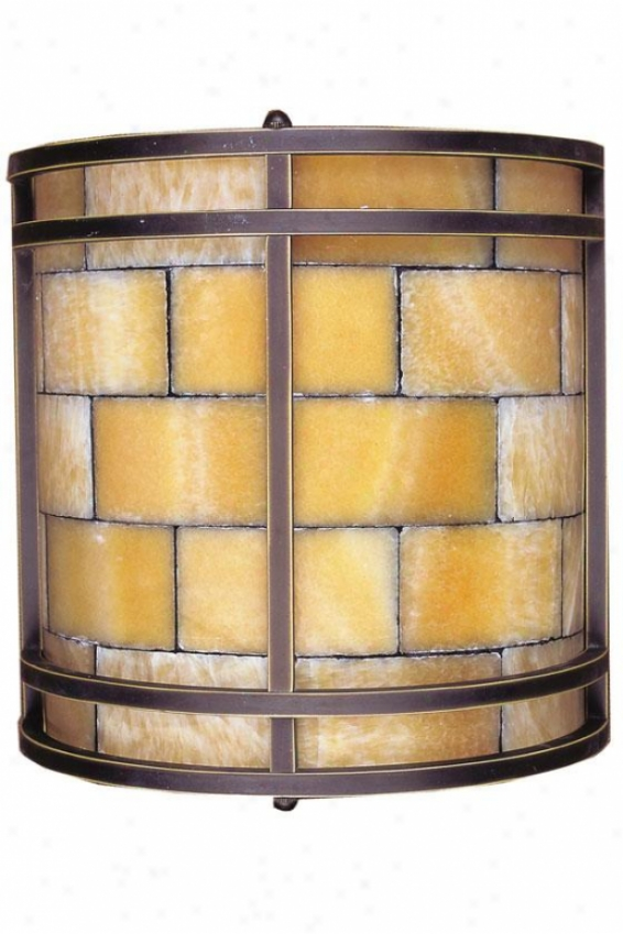 Mosaic Stone Sconce - 2-light, Ignorance Ant. Brass