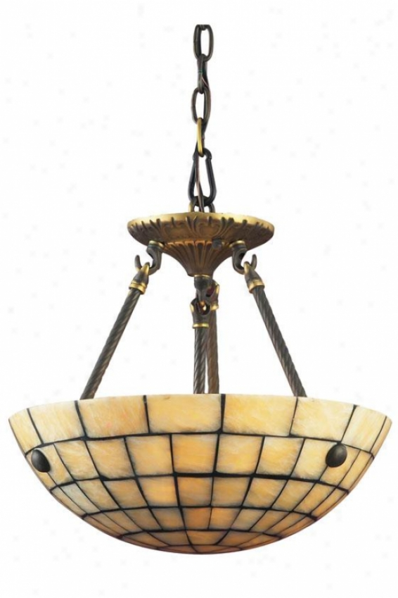 Mosaic Stone Semi-flush Mount - 3-light, Dark Ant. Brass