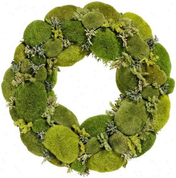 """moss Wreath - 15""""d, Green"""