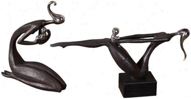 Mother And Child Statues - Set Of 2 - Set Of 2, Black