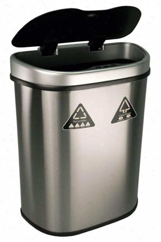 Motion Detector Recycling Bin - 18.5 Gallon, Brushef Stainls