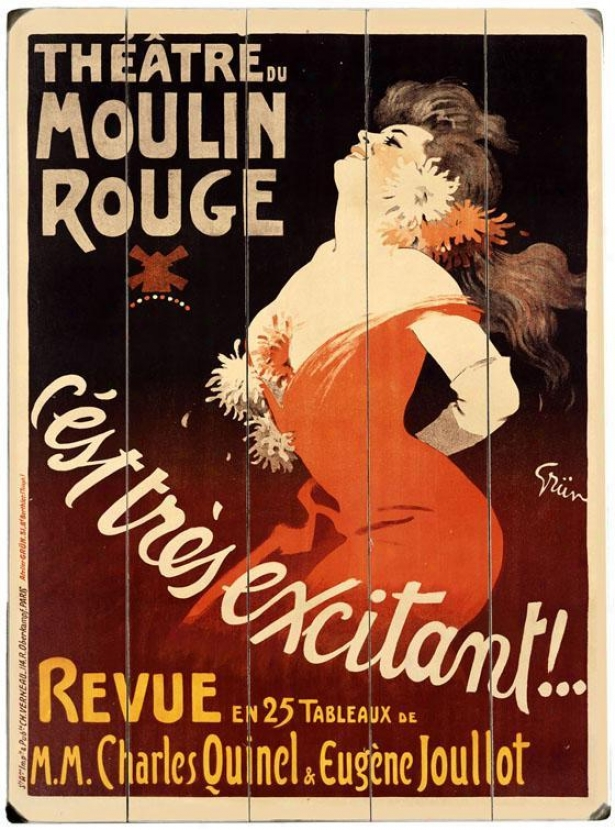 """moulin Rouge Theater Wooden Sign - 20""""hx14""""w, Burgundy"""