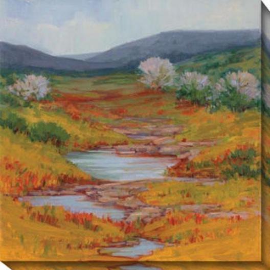 Mountain Stream I Canvas Wall Art - I, Gold