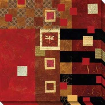 Moving Layers And Squares Ii Canvas Wall Art - Ii, Red