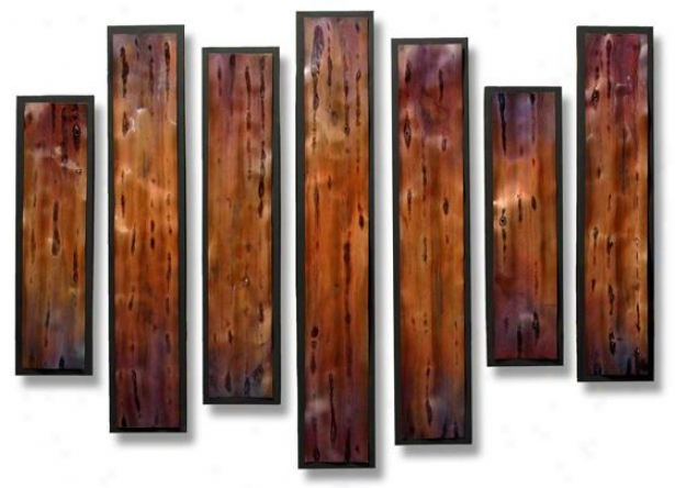 Multiplicity Wall Sculpture - Set Of 7 - S/7 46hx36wx2d, C0pper