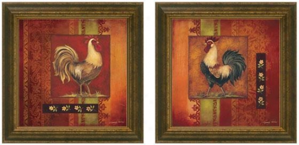 Murano Rooster Framed Wall Art - Set Of 2 - Set Of Two, Burgundy