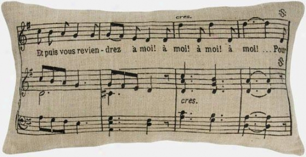 """music Notes Pillow - 11""""hx21""""w, Black"""