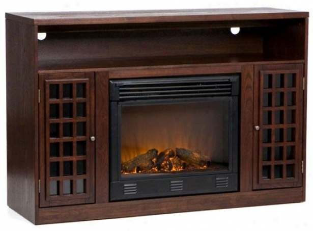 """nancy Media Console Fireplace - 48""""wx33""""hx16""""d, Coffee Brown"""