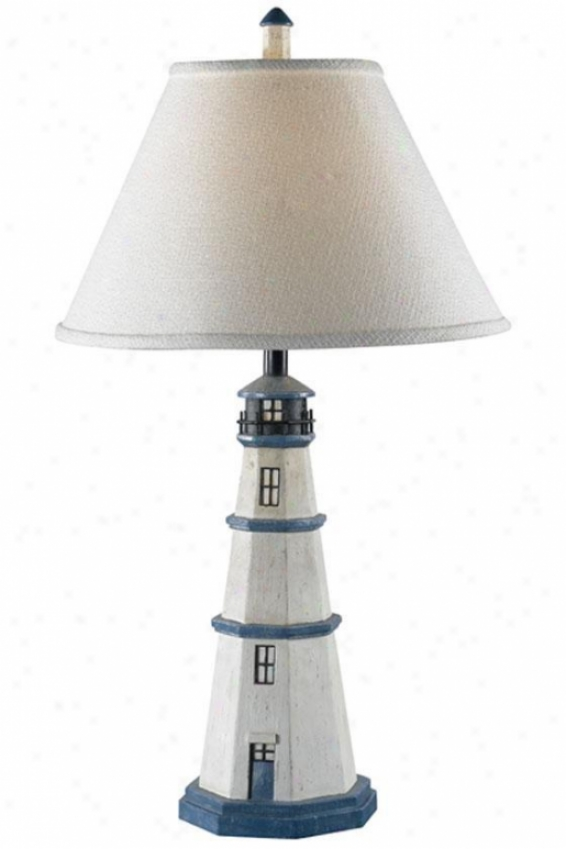 Nantucket Table Lamp - Pale Fabric, White