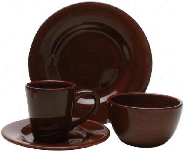 Napa 16-piece Dinnerware Set - 16 Piece Set, Chocolate Broen
