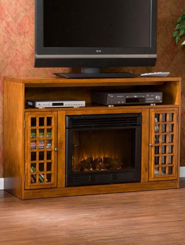 Narita Media Console With Electric Fireplace - Electric, Glazed Pine