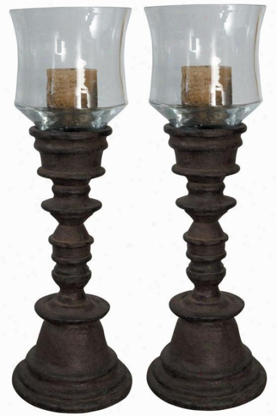 Natalia Candleholders - Swt Of 2 - Clear away Glass, Brown