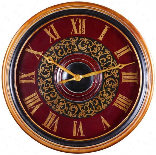"""natara Clock - 32""""roound, Antiqued Wssh"""