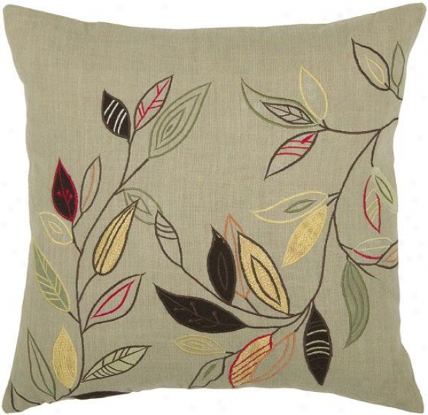 """natural Leaves Pillow - 18"""" Square, Beige"""