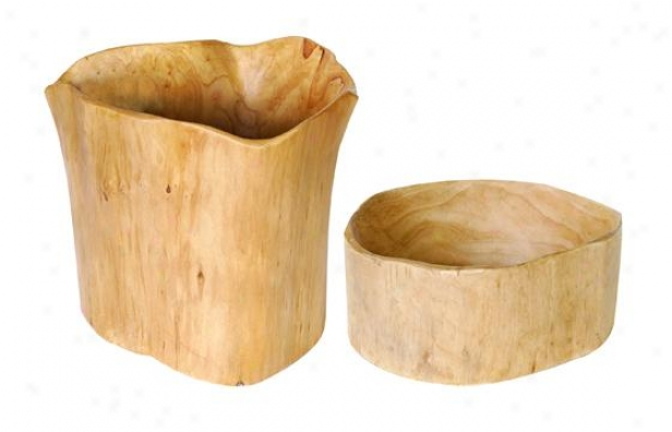 Nafural Wood Bowl - Set Of 2 - Mean Set Of 2, Ivory