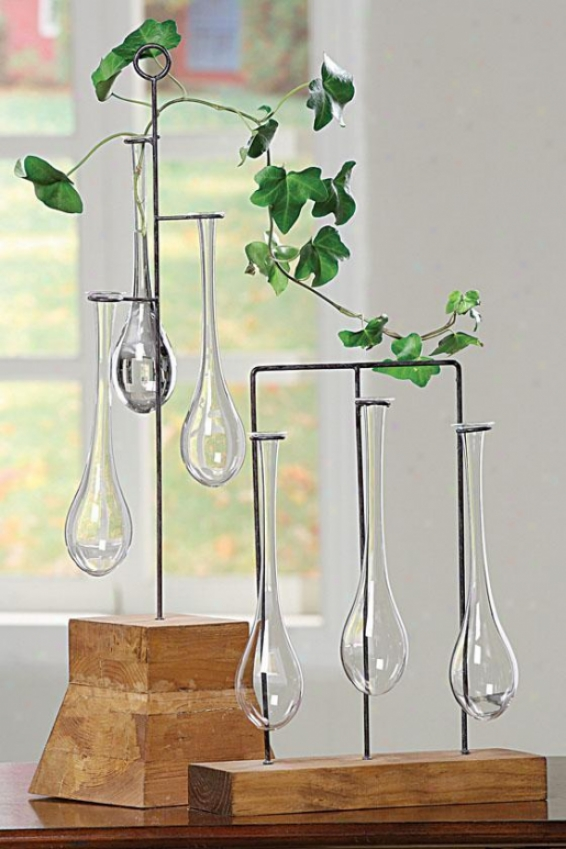 Naturale Bud Vases With Stand - Tall, Wood/clear