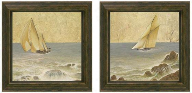 Nautical Fusion Framed Wall Art - Set Of 2 - Set Of Two, Ivory