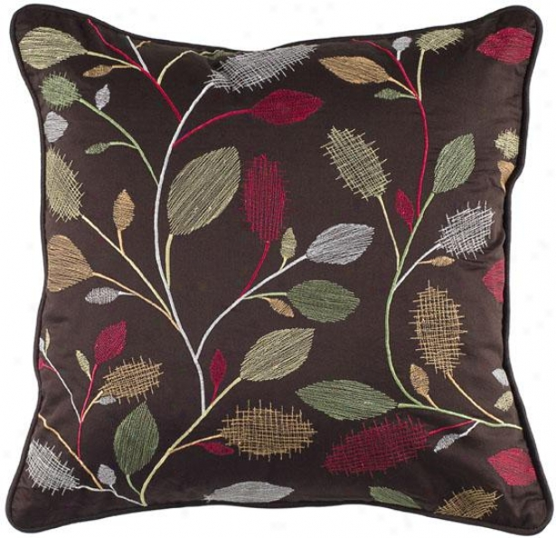 """neutral Leaves Pillow - 18"""" Square, Brown"""