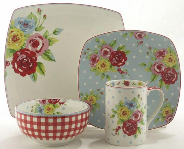 New Country 16-piece Dinnerware Set - 16 Gun Set, Multi Floral