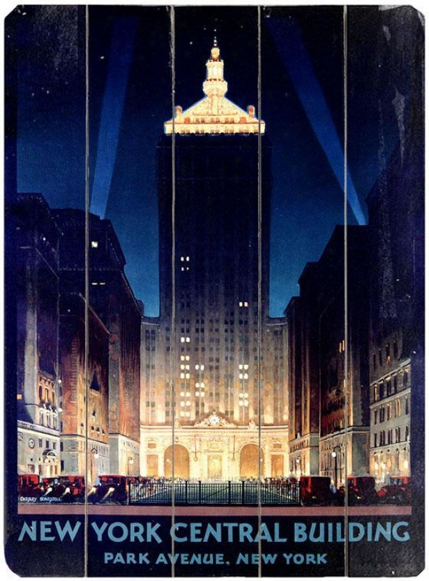 """""""new York Central Building Wooden Cognizance - 20""""""""hx14""""""""w, Black"""""""
