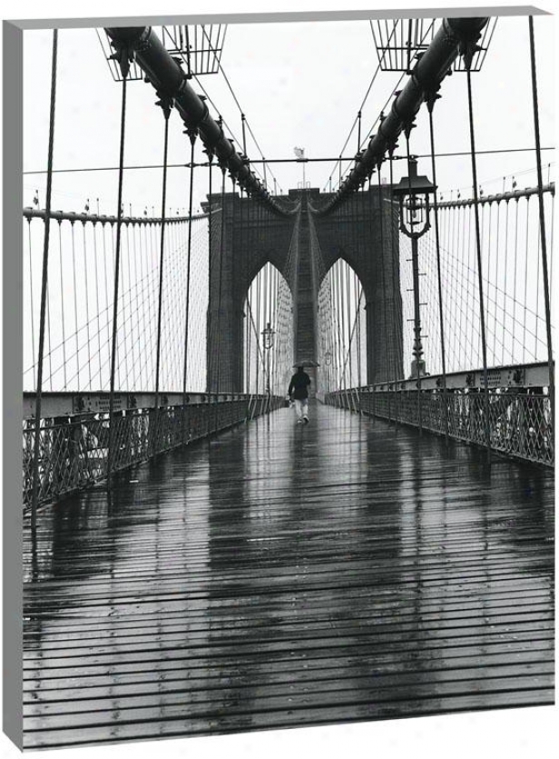 New York City Landmarks Wall Art - Btooklyn Bridge, Black And White
