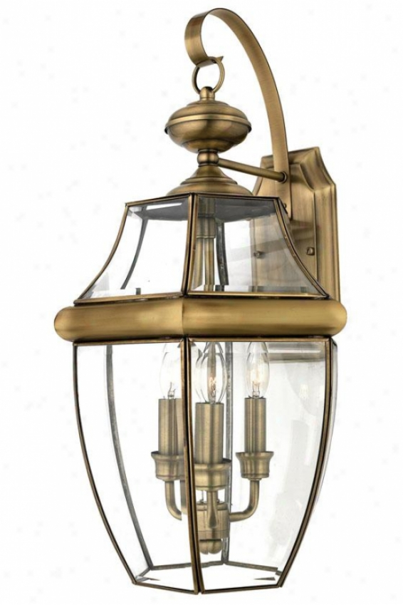 Newbury 3-light Outdoor Wall Lantern - Large/3-light, Copper Brass
