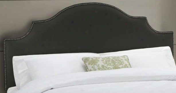 Notvhed Headboard Upon Nailhead Trim - Twin, Twill Black