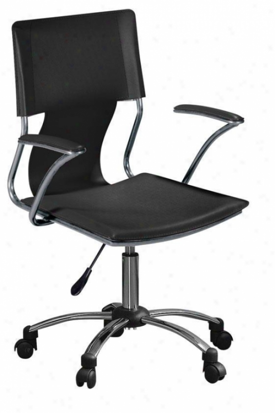 Nova Adiustable Swivel Desk Chair - Black, Silver Chrome