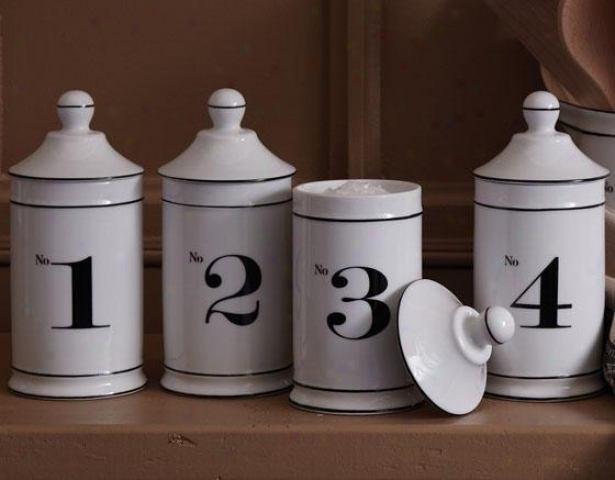 Numbered Jars - Set Of 4 - Set Of 4, Ivory