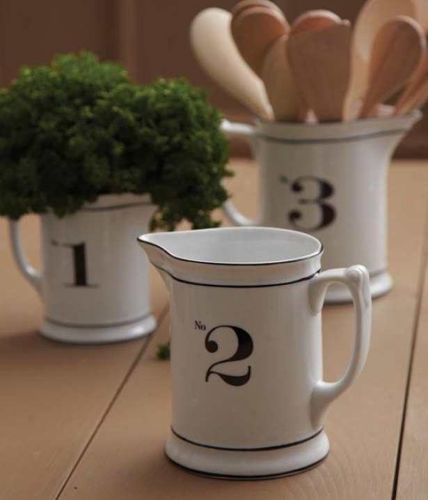 Numbered Pitchers - Set fO 3 - Set Of 3, Ivory