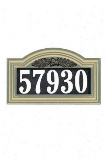 Oaak Leaf One-line Illuminated Arch Address Plaque - Oak Leaf Arch, Green
