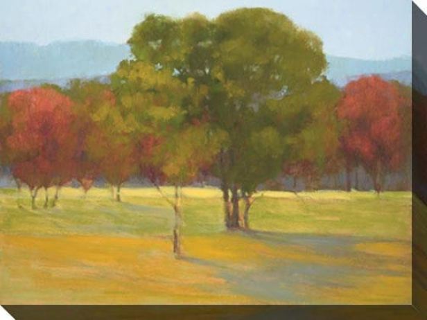 """oak With Red Trees Canvas Wall Art - 48""""hx36""""w, Green"""