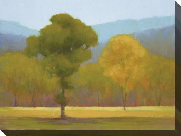 """oak With Yellow Trees Canvas Wall Art - 48""""hx36""""w, Green"""