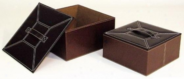 """office Accessory Boxes - Set Of 2 - 6""""hx12""""sq, Brown"""