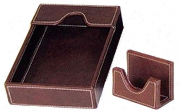 Company Desk Organizer - Med Paper Tray, Brown