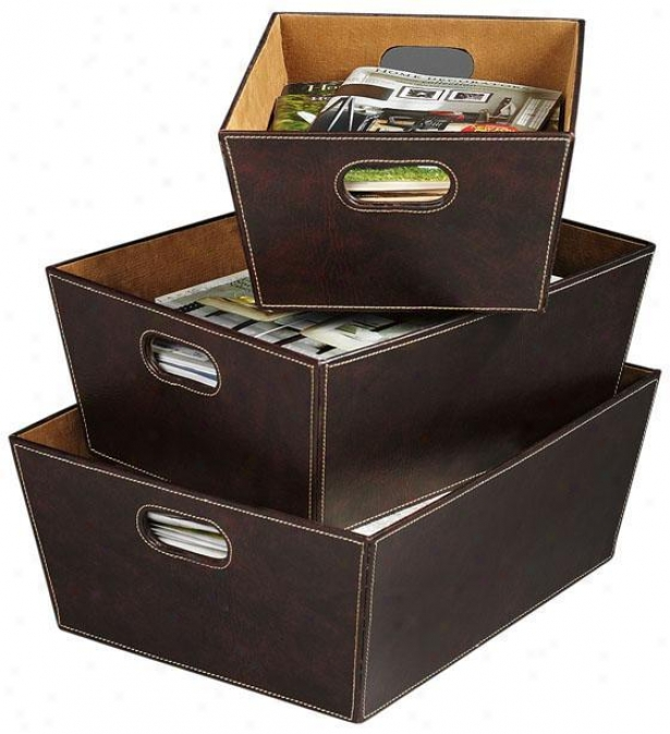 """office Storage Bins - Set Of 3 - 7""""hx18""""w, Brown"""