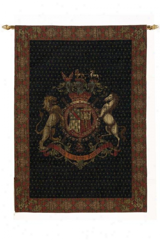 """old World Crest Tapestry - 72""""hx51""""w, Multi"""