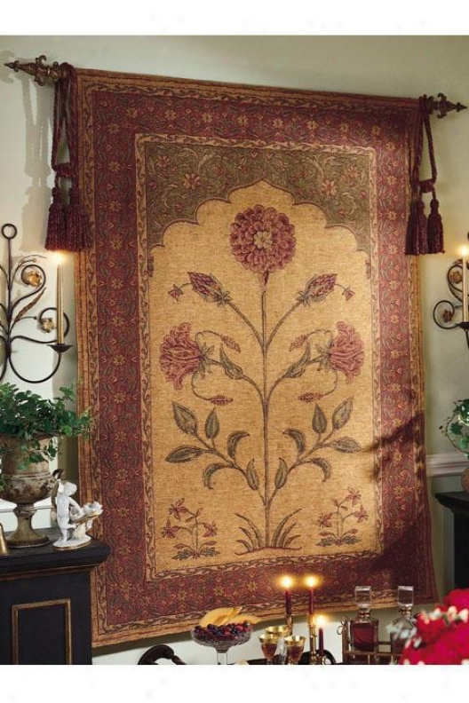 """old World Flowsr Tapestry - 55""""hx76""""w, Multi"""