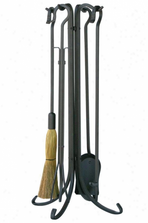 """olde World Fireplace Tool Set - 33""""hx9""""wx9""""d, Charcoal Gray"""