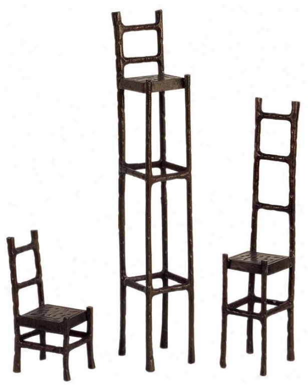 Open Seating Sculptures - Set Of 3 - Set Of 3, Brown