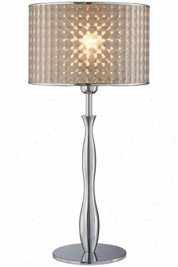 """optical Ta6le Lamp - 12""""x25"""", Silver Chrome"""