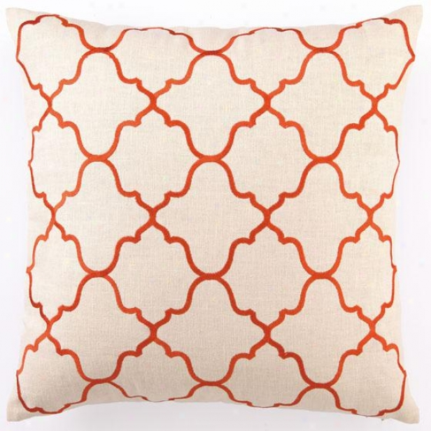 """orange Embroidered Pillow - 20""""hx20""""wx2.5d, Odange Moroccan"""