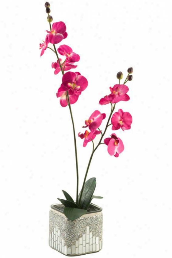 """orchids In Square Mosaic Mirrored Planter - 32""""hx12""""w, Pink"""