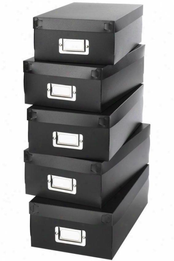 Organizer Boxes - Arrange Of 5 - Set Of 5, Black