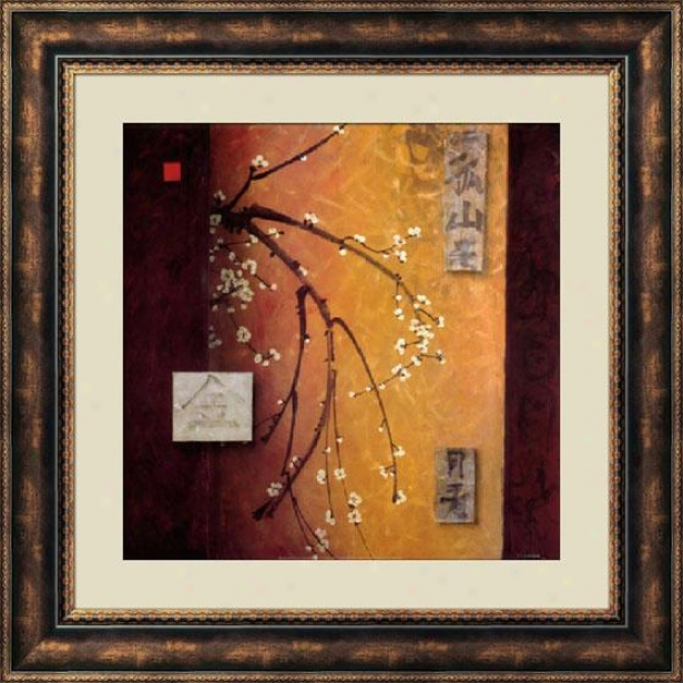 """oriental Blossom Ii Framed Wall Art - 40""""hx40""""w, Brown"""