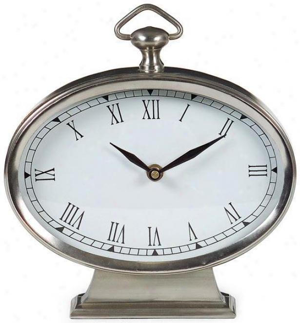 """""""pval Desk Clock - Pewter - 9""""""""h X 7.5""""""""w, Gray"""""""