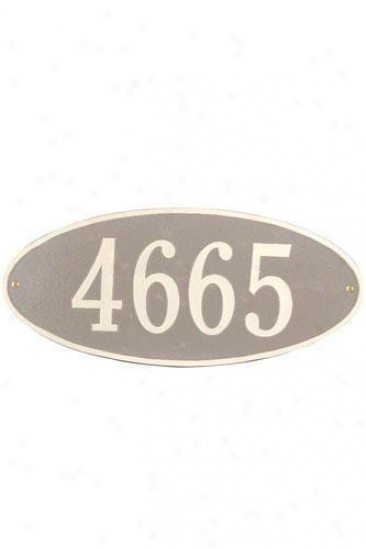 Oval One-line Estate Wall Address Plaque - Estate/one Line, Beige