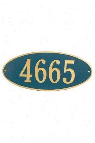 Oval One-line Stahdard Wall Address Plaque - Standard/1 Line, Ships of war Blue