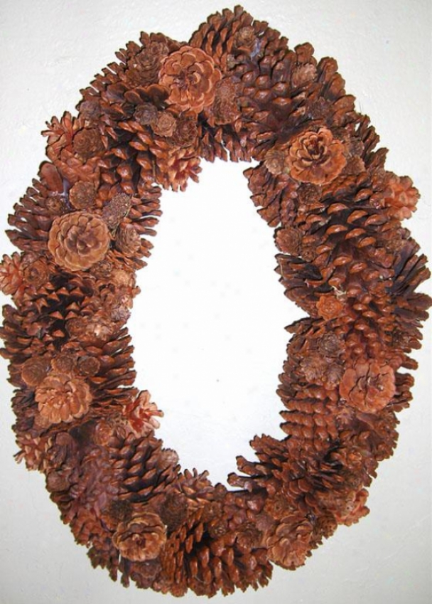 """oval Pine Cone Wreath - 20""""hx14""""w, Brown"""
