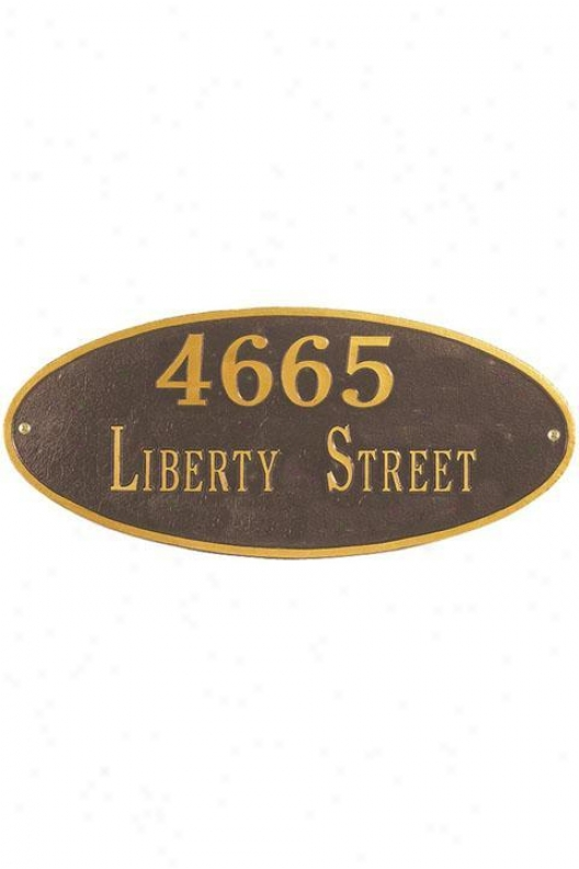 Oval Two-line Standard Wall Address Plaque - Standard/2 Note, Copper